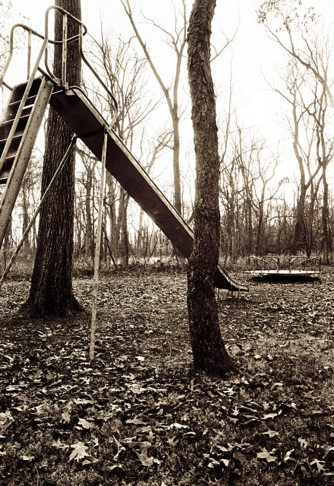 A forgotten metal slide and merry-go-round surrounded by barren trees and a featureless sky. Rendered in monochrome.