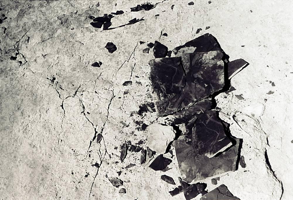 Black shale fragments shaped as a petulant child rage across a white boulder.